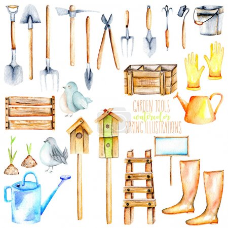 Set, collection of watercolor objects of garden tools illustrations