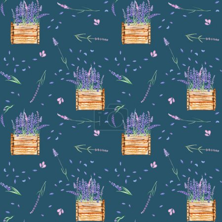 Seamless pattern with lavender flowers in the wood boxes