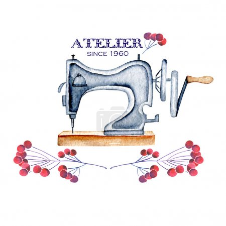 Mockup of logo with watercolor retro sewing machine and floral elements