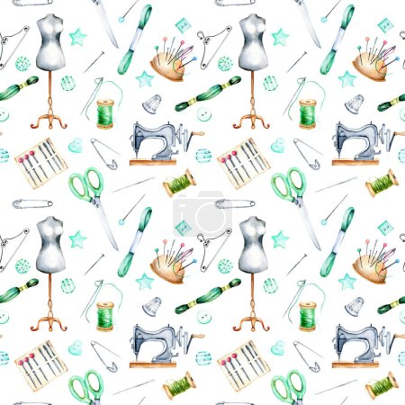 Seamless pattern with watercolor sewing elements