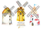 Set, illustration collection with watercolor windmills