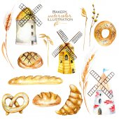 Set, illustration collection with watercolor bakery products (bagel, loaf, French baguette), wheat spikelets and windmills