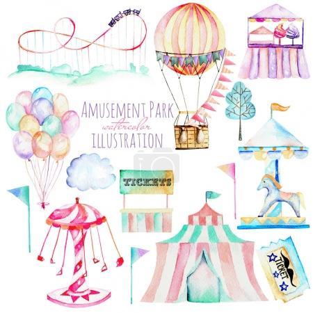 Foto de Ilustración con acuarela elementos del parque de atracciones, dibujado a mano aislado en un fondo blanco, carruseles, Aeróstatos, globos de aire y otros - Imagen libre de derechos