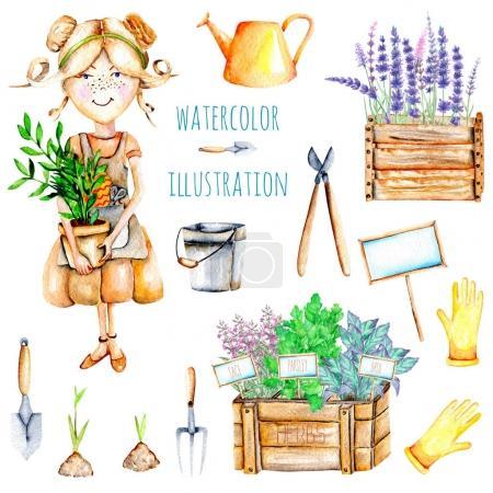 Photo pour Ensemble d'aquarelle mignonne jardinière fille et outils de jardin illustrations, peint à la main isolé sur un fond blanc - image libre de droit