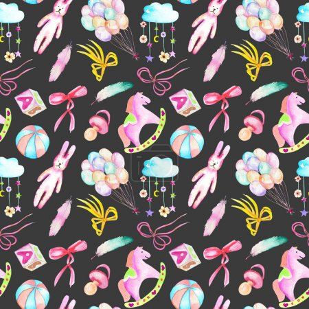 Seamless pattern with baby girl shower watercolor elements (toys, unicorn, air balloons, rainbow, nipple, feathers and other)