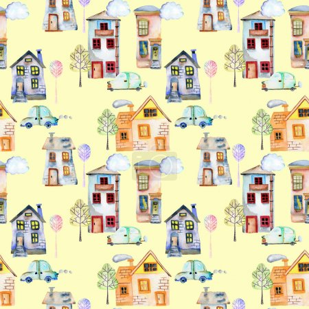 Seamless pattern with cute cartoon watercolor english houses, cars, trees and clouds