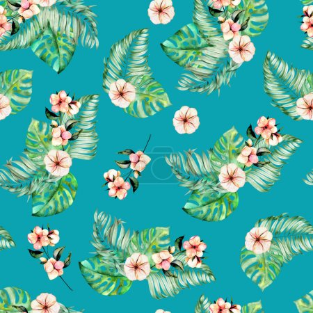 Photo for Seamless pattern with watercolor palm and monstera leaves, exotic pink flowers, hand painted on a dark turquoise background - Royalty Free Image