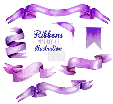 Set, collection of watercolor purple ribbons