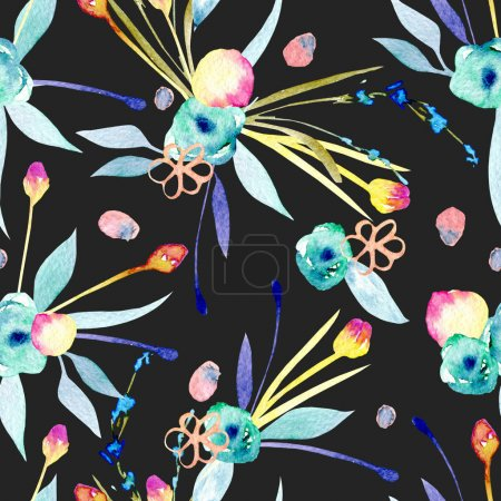 Photo for Seamless pattern with watercolor abstract yellow and blue flowers and plants, hand painted on a dark background - Royalty Free Image
