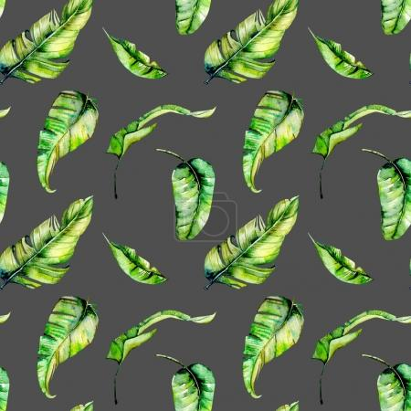 Photo for Watercolor palm tropical green leaves seamless pattern, hand painted isolated on a dark background - Royalty Free Image