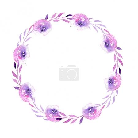 Photo for Watercolor purple roses wreath, hand drawn isolated on a white background, for wedding, birthday and other greeting cards - Royalty Free Image