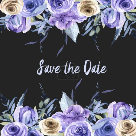 Watercolor blue and brown roses and plants card template, Save the Date card design, hand painted on a dark background
