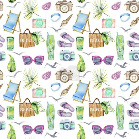 Photo for Watercolor summer, sea and beach elements seamless pattern, hand painted on a white background - Royalty Free Image