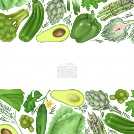 Photo for Borders of green vegetables (avocado, pepper, cucumber, artichoke, broccoli, cabbage, asparagus), hand drawn on a white background - Royalty Free Image