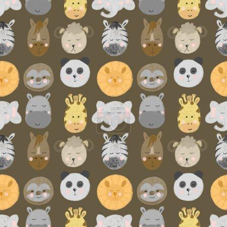 Photo pour Modèle sans couture avec des visages d'animaux africains et américains (lion, zèbre, paresseux, girafe, etc.), dessinés à la main isolés sur un fond brun - image libre de droit