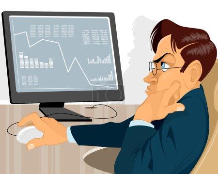 Illustration pour Illustration vectorielle d'un trader avec moniteur - image libre de droit