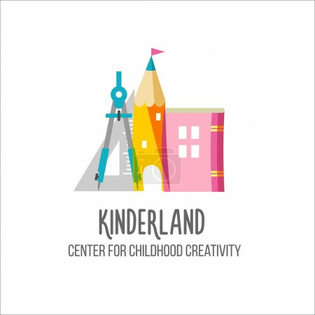 Children's center logotype. Vector emblem on white background si