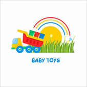 Toys kids Vector sign the logo for the toy store Kids dump truck unloads paint