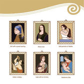 Set of vector icons of paintings by famous artists