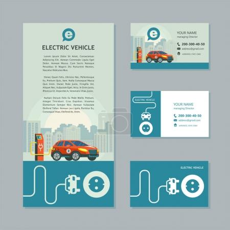 Photo for Red electric car at a charging station. Service electric vehicles. Corporate identity, car show, flyer, business cards. - Royalty Free Image