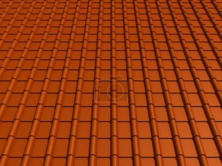 closeup tiled roof 3d rendering