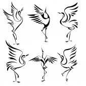 Set of isolated stylized image of the dancing cranes on a white background vector
