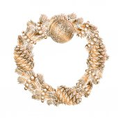 Exquisite and luxurious Realistic vintage golden engraving wreath of fir branches and pine cones beads isolated on white background Christmas and New Year design elements