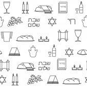 Shabbat symbols seamless pattern