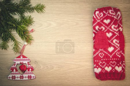 Christmas wooden background with Christmas toys an...