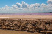 Pink lake. Striking red pool used in the production of salt near Rio Lagartos, Mexico, Yucatan