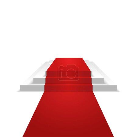 Podium design element. Red carpet. Background.