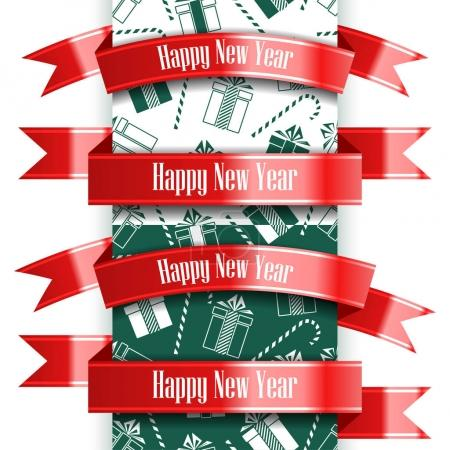 Happy New Year ribbon set and seamless pattern. Christmas