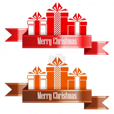 Merry Christmas banner ribbon. New Year concept. Vector