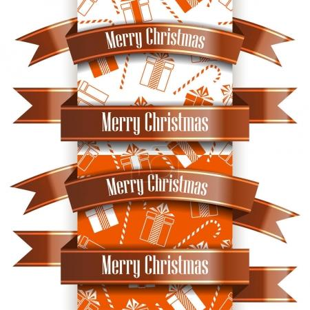 Merry Christmas ribbon set and seamless pattern. New Year