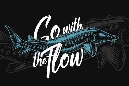 Photo pour Aller avec les illustrations marines de flux avec esturgeon sur fond sombre - image libre de droit