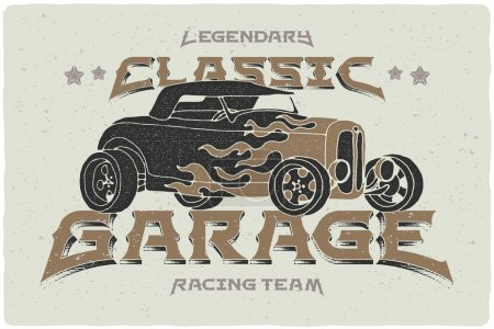 Vintage print with hot rod car