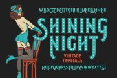 Vintage cabaret style font with beautiful female dancer wearing stocking gloves mask and lingerie