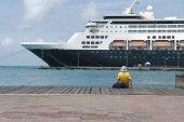 Large cruise ship docked at the port of Aruba, Caribbean islands