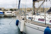Sail boats moored at Msida Marina in Malta