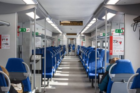 Russia, Moscow, Interior of train at Moscow central circle metro line  (MCC)