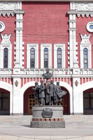Moscow, Russia - April 27, 2018: Monument to the creators of the russian railways in Moscow near Kazansky railway station