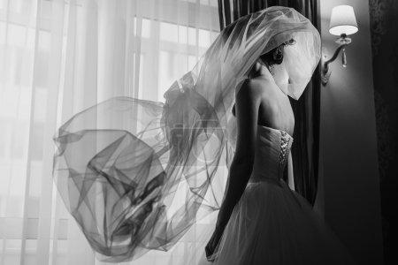 Veil flys over a bride
