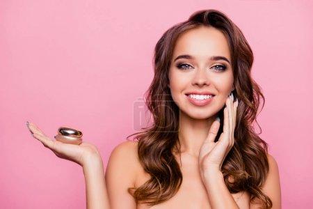 Concept of using moisturizing night cream -  beautiful cute pret
