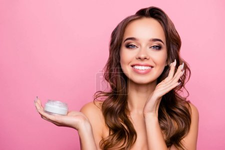 Concept of using moisturizing daily cream -  beautiful cute pret