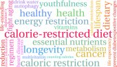 Calorie-Restricted diet word cloud on a white background