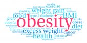 Obesity word cloud on a white background