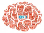 Obesity Brain word cloud on a white background