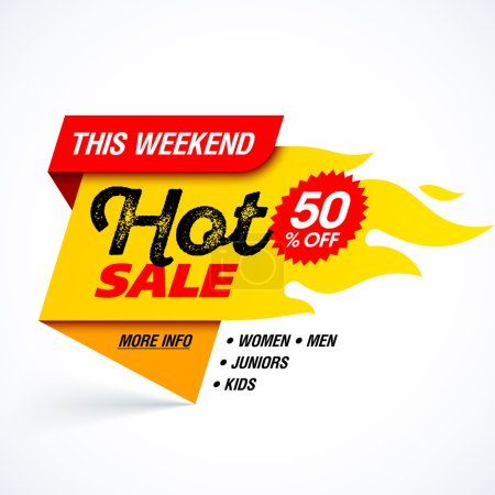 Illustration for Hot Sale banner. This weekend special offer, big sale, discount up to 50% off. Vector illustration. - Royalty Free Image