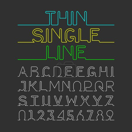 Thin Single Line font, alphabet and numbers. Vecto...