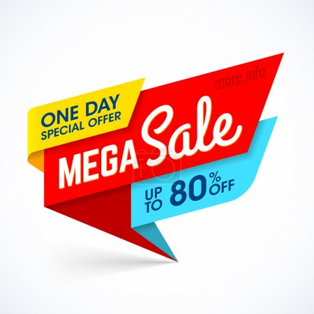 Illustration for One Day Mega Sale banner, special offer , big sale, at up to 80% off. Vector illustration. - Royalty Free Image